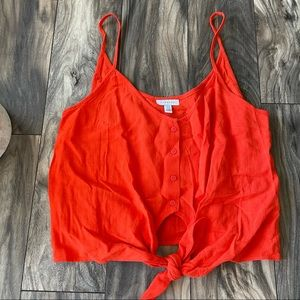 TOPSHOP red button down crop top size 10